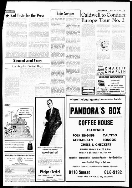 Daily Trojan, Vol. 49, No. 100, April 11, 1958