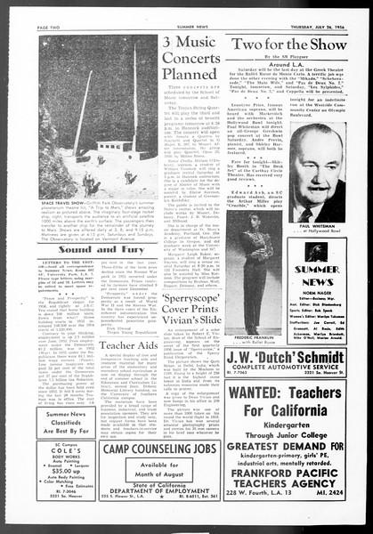 Summer News, Vol. 11, No. 10, July 26, 1956