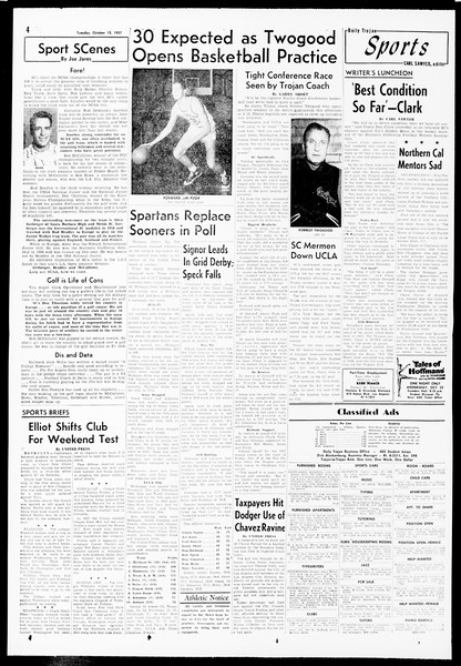 Daily Trojan, Vol. 49, No. 16, October 15, 1957