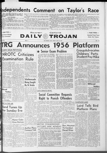 Daily Trojan, Vol. 47, No. 117, April 20, 1956