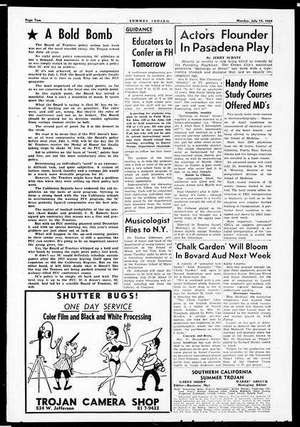 Summer Trojan, Vol. 12, No. 6, July 15, 1957
