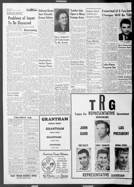 Daily Trojan, Vol. 45, No. 19, October 15, 1953