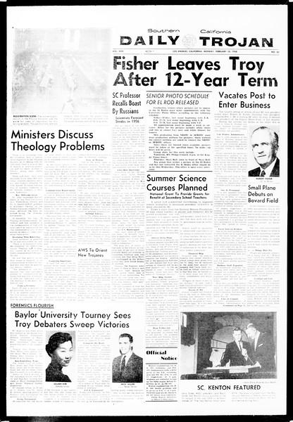 Daily Trojan, Vol. 49, No. 62, February 10, 1958