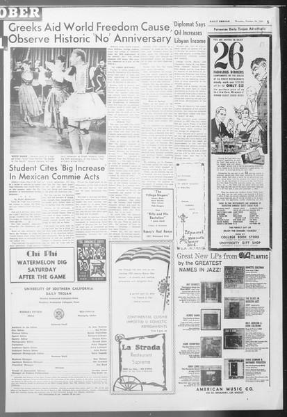 Daily Trojan, Vol. 53, No. 28, October 26, 1961