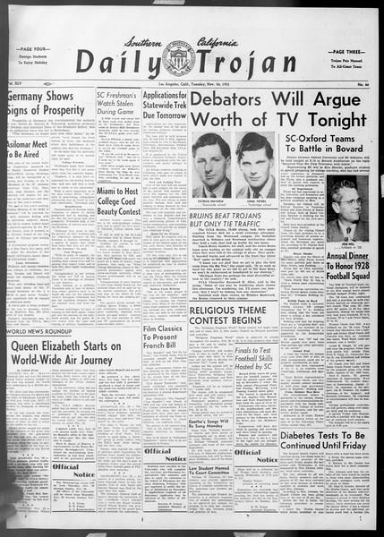 Daily Trojan, Vol. 45, No. 46, November 24, 1953