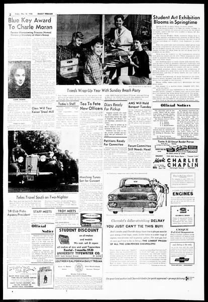Daily Trojan, Vol. 49, No. 120, May 16, 1958