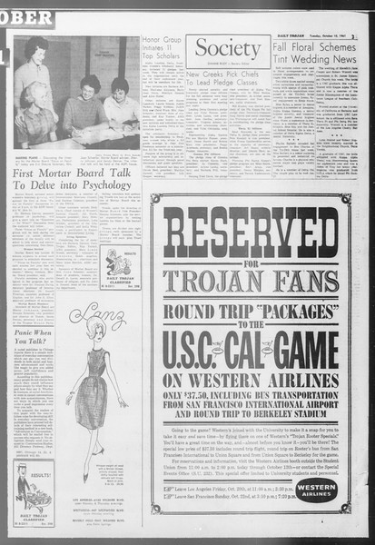 Daily Trojan, Vol. 53, No. 17, October 10, 1961