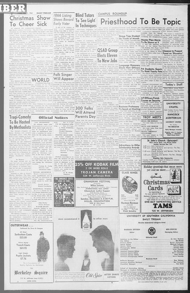 Daily Trojan, Vol. 53, No. 50, December 01, 1961