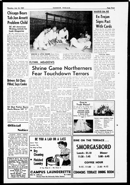 Summer Trojan, Vol. 12, No. 7, July 18, 1957