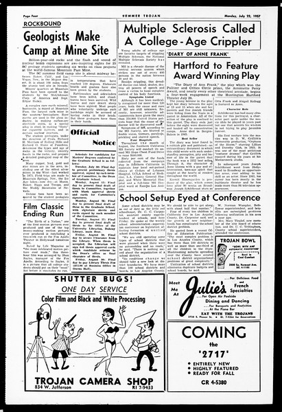 Summer Trojan, Vol. 12, No. 8, July 22, 1957