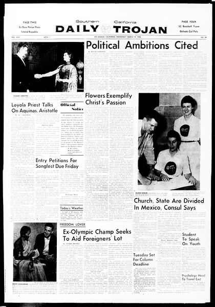 Daily Trojan, Vol. 49, No. 89, March 19, 1958