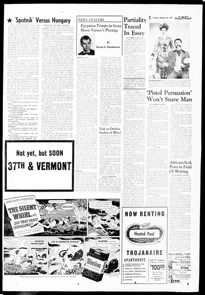 Daily Trojan, Vol. 49, No. 21, October 22, 1957