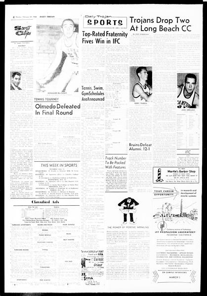 Daily Trojan, Vol. 49, No. 72, February 24, 1958