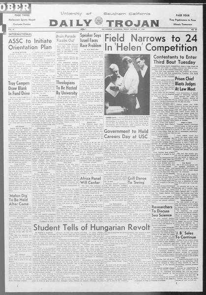 Daily Trojan, Vol. 53, No. 29, October 27, 1961