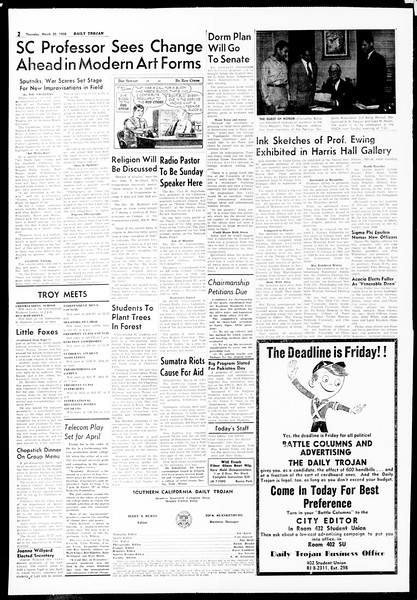 Daily Trojan, Vol. 49, No. 90, March 20, 1958