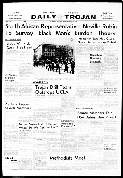 Daily Trojan, Vol. 49, No. 102, April 16, 1958