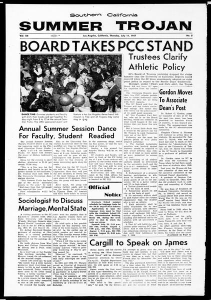 Summer Trojan, Vol. 12, No. 5, July 11, 1957