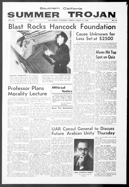 Summer Trojan, Vol. 8, No. 13, August 12, 1958