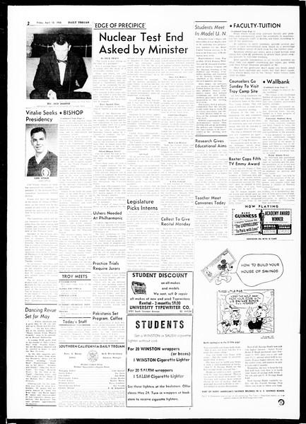Daily Trojan, Vol. 49, No. 104, April 18, 1958