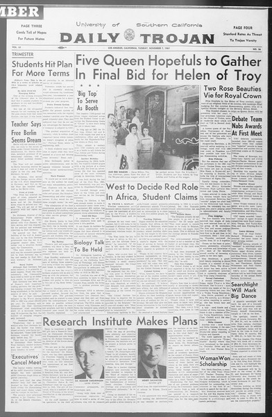 Daily Trojan, Vol. 53, No. 36, November 07, 1961