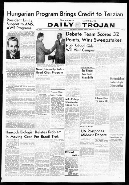 Daily Trojan, Vol. 48, No. 76, February 19, 1957