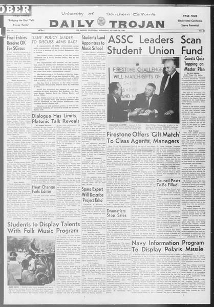 Daily Trojan, Vol. 53, No. 23, October 18, 1961