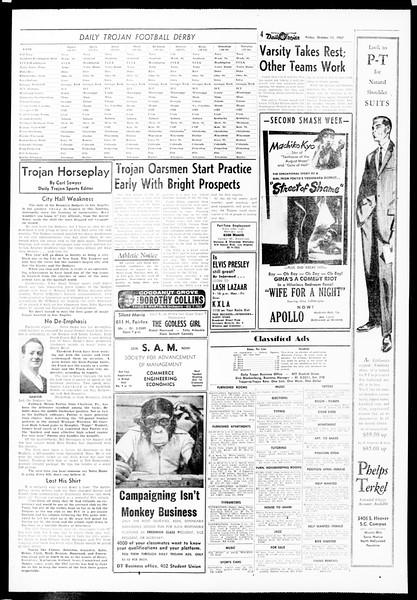 Daily Trojan, Vol. 49, No. 14, October 11, 1957