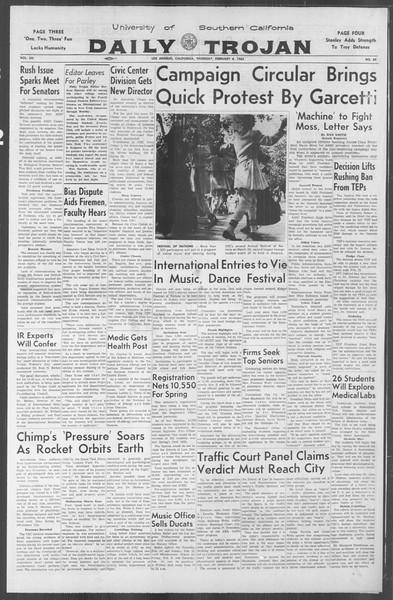 Daily Trojan, Vol. 53, No. 65, February 08, 1962
