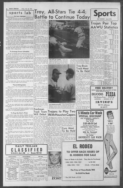 Daily Trojan, Vol. 53, No. 76, February 23, 1962