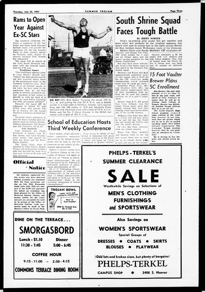Summer Trojan, Vol. 12, No. 9, July 25, 1957