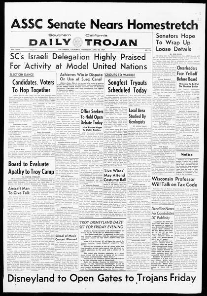 Daily Trojan, Vol. 48, No. 116, April 24, 1957