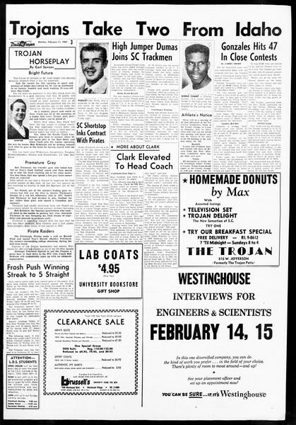 Daily Trojan, Vol. 48, No. 70, February 11, 1957