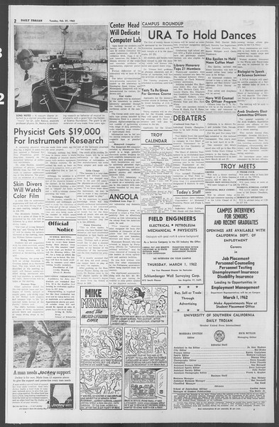 Daily Trojan, Vol. 53, No. 78, February 27, 1962
