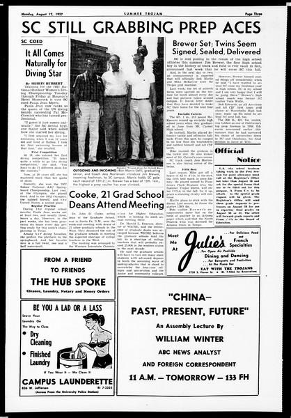Summer Trojan, Vol. 12, No. 12, August 12, 1957