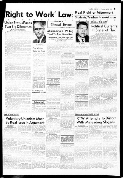 Daily Trojan, Vol. 49, No. 97, April 08, 1958