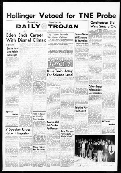 Daily Trojan, Vol. 48, No. 67, January 10, 1957