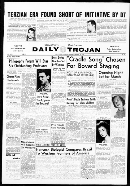 Daily Trojan, Vol. 48, No. 75, February 18, 1957