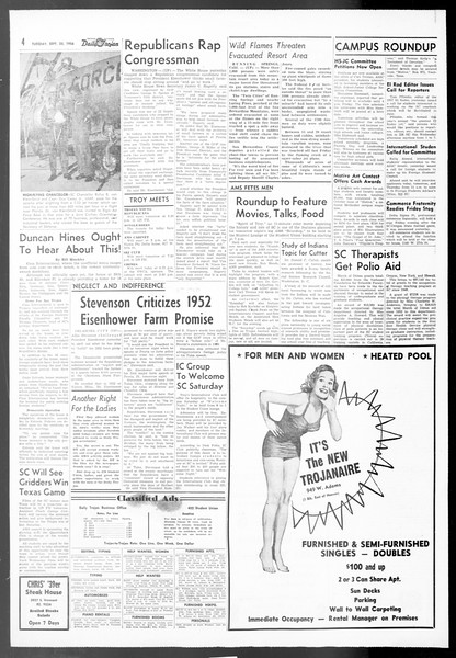 Daily Trojan, Vol. 48, No. 3, September 25, 1956