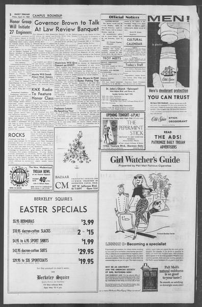 Daily Trojan, Vol. 53, No. 110, April 13, 1962