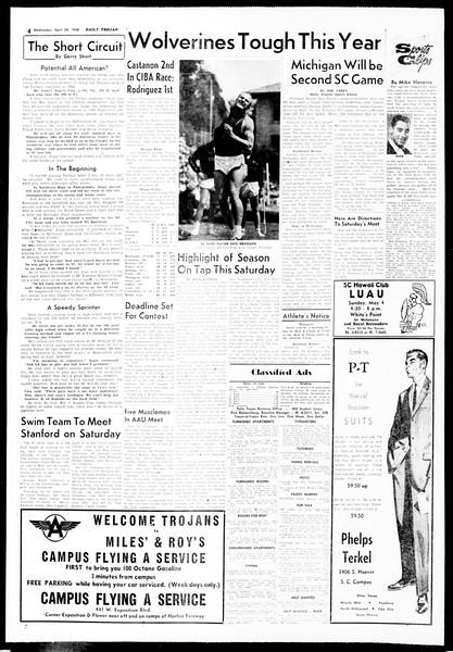 Daily Trojan, Vol. 49, No. 110, April 30, 1958