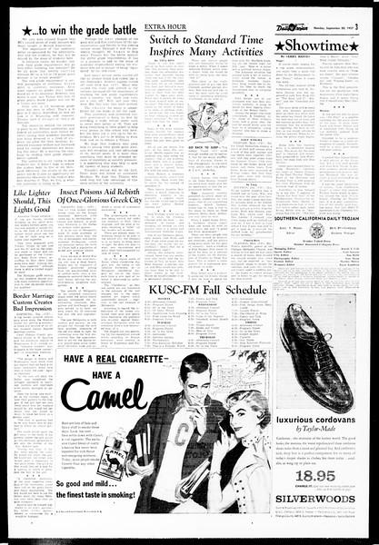Daily Trojan, Vol. 49, No. 5, September 30, 1957