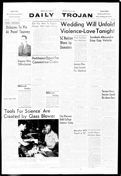 Daily Trojan, Vol. 49, No. 105, April 22, 1958