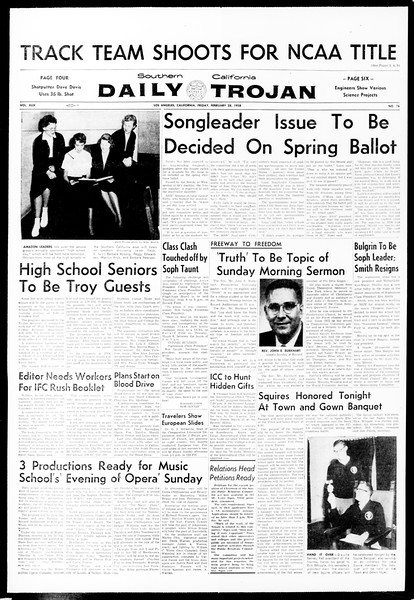 Daily Trojan, Vol. 49, No. 76, February 28, 1958