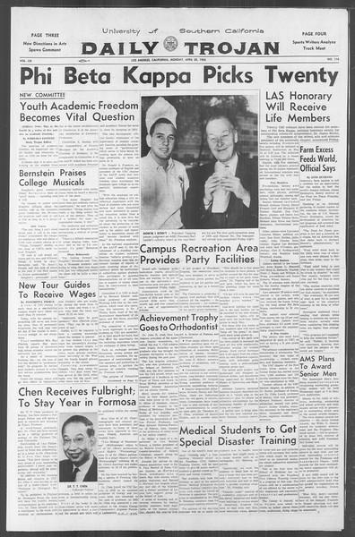 Daily Trojan, Vol. 53, No. 115, April 30, 1962