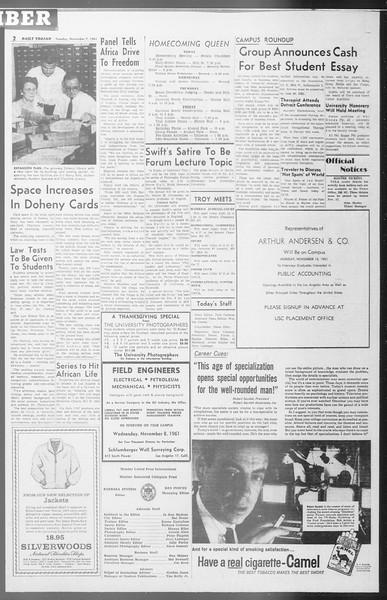Daily Trojan, Vol. 53, No. 36, November 07, 1961