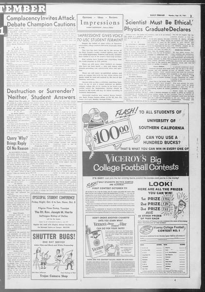 Daily Trojan, Vol. 53, No. 6, September 25, 1961