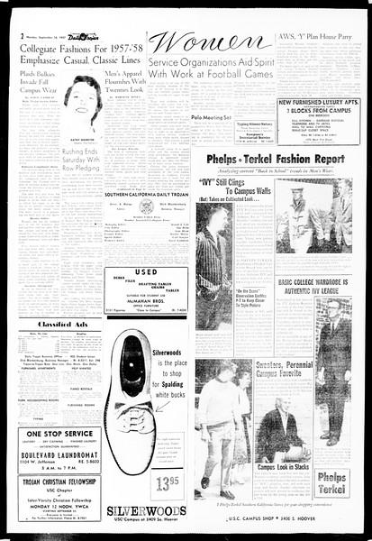 Daily Trojan, Vol. 49, No. 1, September 16, 1957