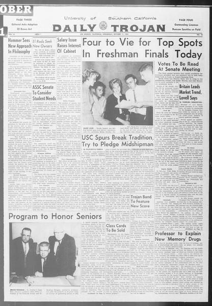Daily Trojan, Vol. 53, No. 18, October 11, 1961