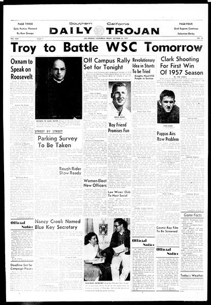 Daily Trojan, Vol. 49, No. 24, October 25, 1957