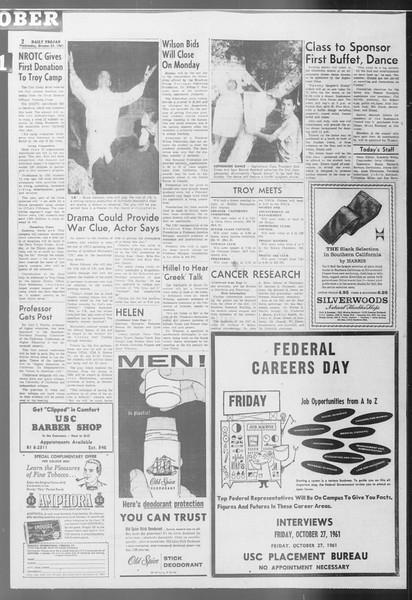 Daily Trojan, Vol. 53, No. 27, October 25, 1961